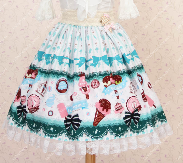 f85d4b7763 Cheap Lovely Light Blue Vanilla Ice Cream Printing Lace Lolita Skirt Sale  At Lolita Dresses Online Shop