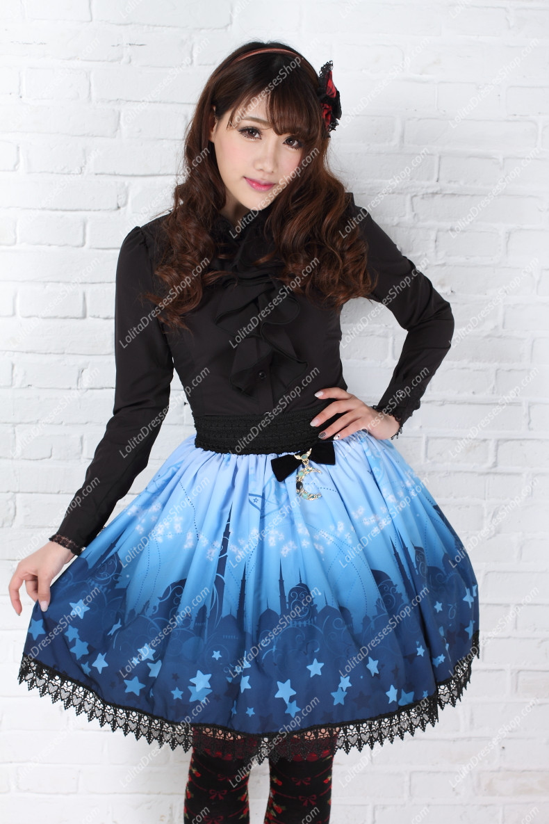 Lovely Blue Moon Castle Printing Lace Lolita Skirt