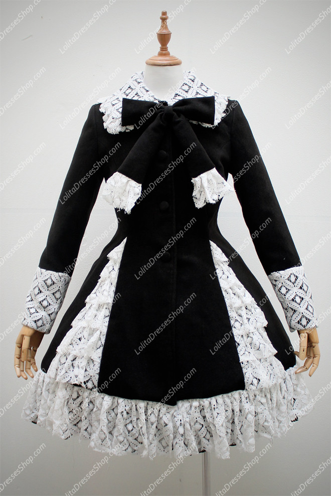 Black Wool Blended with White Lace Hem Long Sleeves Lolita Coat