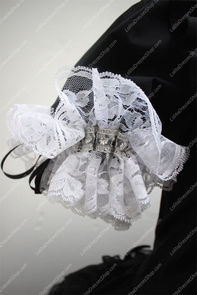 Black with White V-pattern Design Cotton Splicing Sweet Lolita Dress