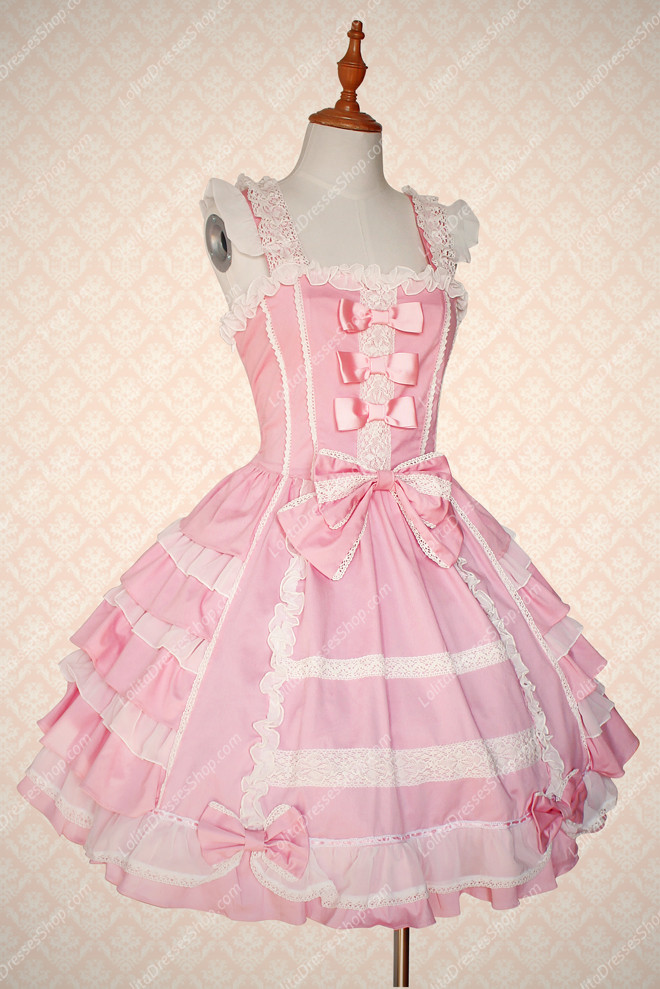 Cheap Pink Cotton Square Neck Sleeveless Sweet Lolita Dress Sale ...