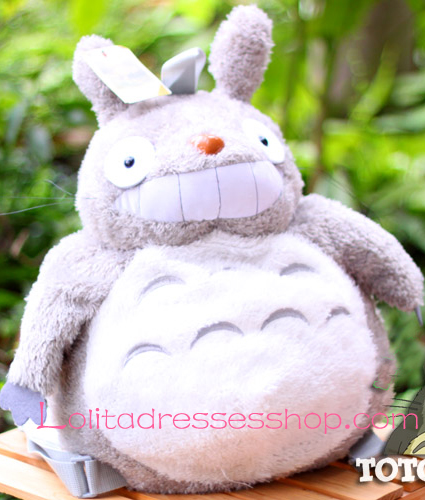 Cute Totoro Plush Gray Doll Backpack