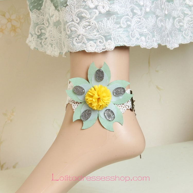 Lolita Small Fresh White Lace Flower Seaside Foot Jewelry