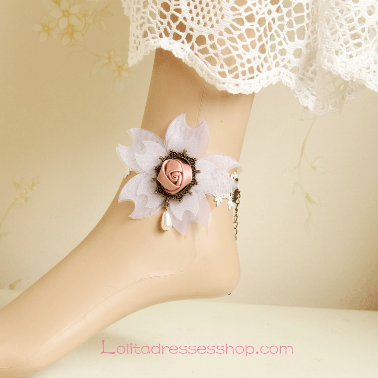 Lolita Cherry Rose Pearl White Lace Foot Jewelry
