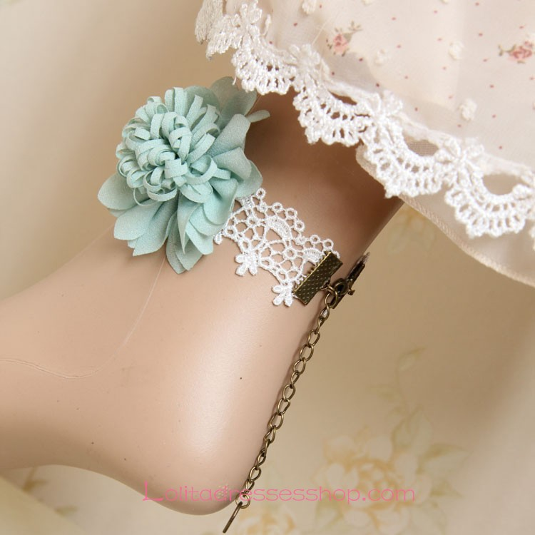 Lolita Vintage Lace Chiffon Bridal Flower Foot Jewelry