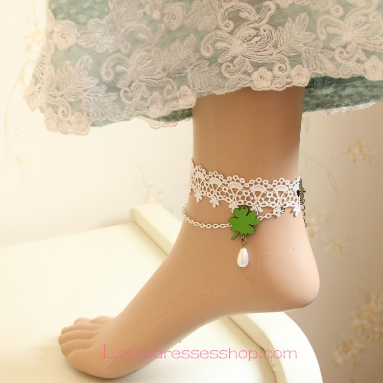 Lolita Clover Pearl Vintage White Lace Foot Jewelry