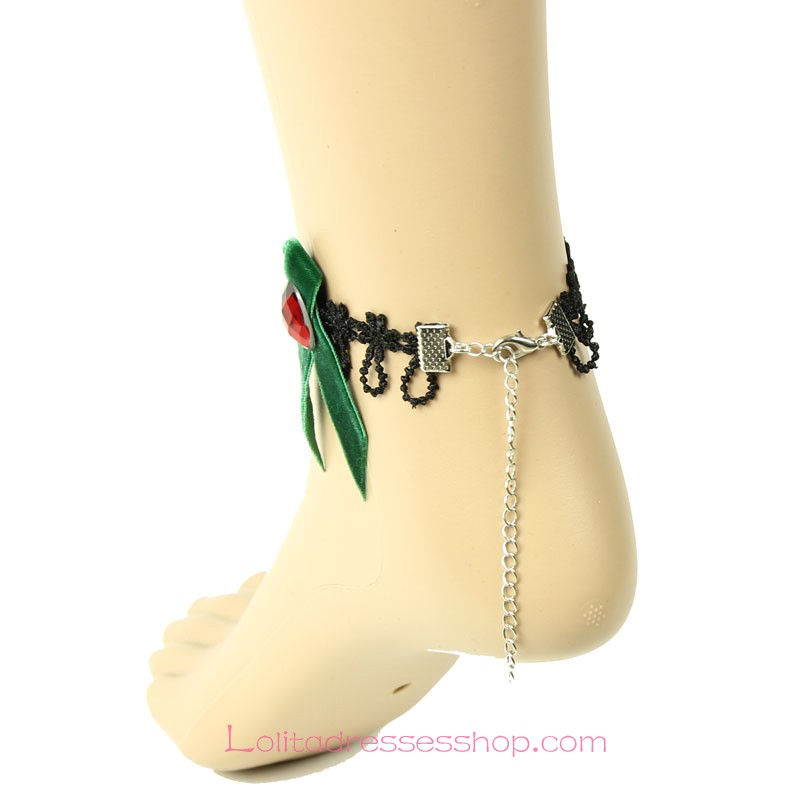 Lolita Happy Christmas Bow Lace Black Gem Foot Jewelry