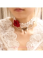 Lolita Retro Palace Rose Pearl White Lace Necklace