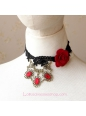 Lolita Black Lace Flowers Gemstone Noble Necklace