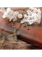 Lolita Vintage White Lace Rose Cross White Lace Necklace
