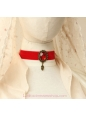 Lolita Red Velvet Ribbon Bride Retro Fashion Gem Necklace