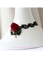 Lolita Black Lace Gothic Red Rose Flower Fashion Necklace
