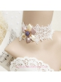 Lolita Retro Flowers Palace White Lace Necklace