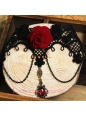 Lolita Gothic Black Lace Red Roses Gem Retro Court Necklace