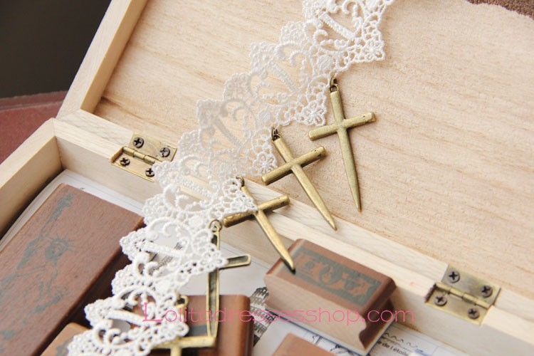 Lolita Cross Sweet Bride White Lace Necklace
