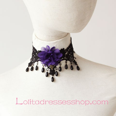 Lolita Gothic Black Lace Pearl Retro Flowers Necklace