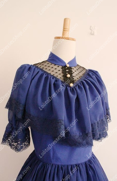 Vintage Palace Blue Lace Long Doll Collar Short Sleeves Fashion