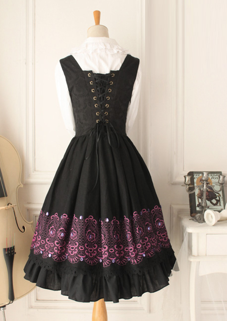 Dark Purple Round Neck Sleeveless Flouncing Printing Gothic Lolita