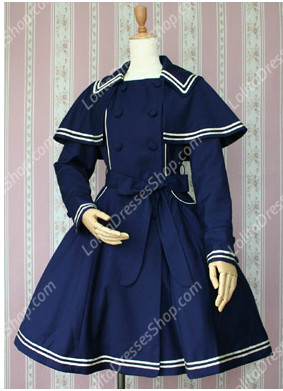 Navy Blue Cotton Square Neck Bowknot Long Sleeves Lolita Coat