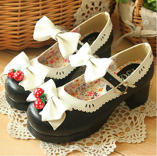 Sweet Black PU Bowknots Lolita Shoes
