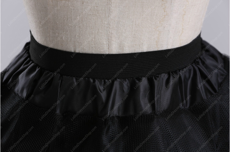 Black Yarn Above Knee Multilayer Lolita Dress Petticoat