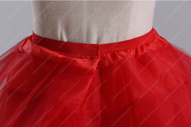 Red Yarn Above Knee Multilayer Lolita Dress Petticoat