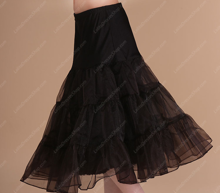 Black Knee Length Yarn Multilayer Lolita Dress Petticoat