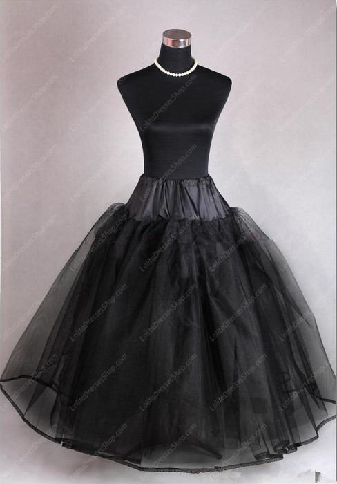 Black Yarn Flooor Length 105 cm Lolita Dress Petticoat