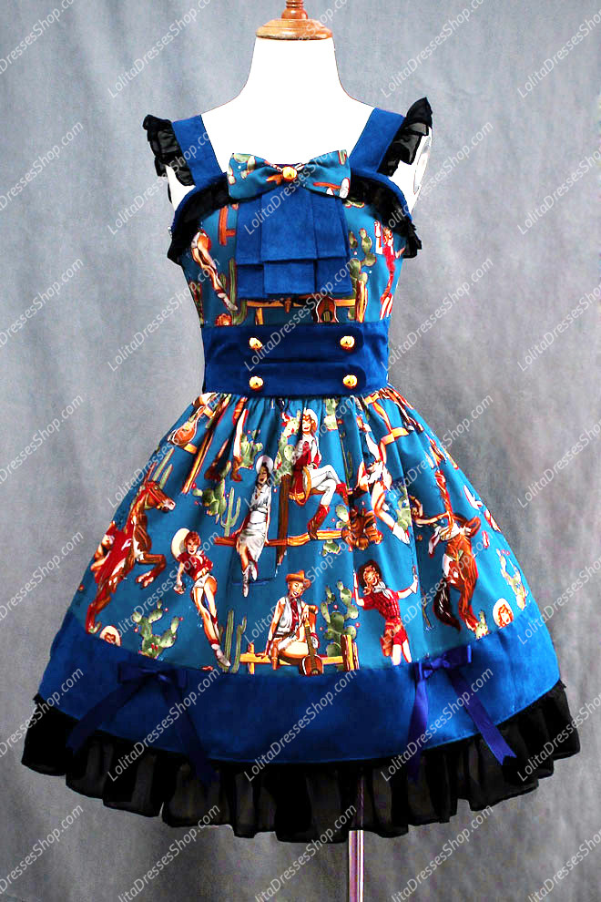 Western Girls Elegant Popular Blue Cotton Square Neck Cap Sleeve Lolita Dress