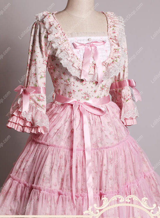 Pink Lace Square Neck Ruffles Small Pieces Flowers Sweet Lolita Dress