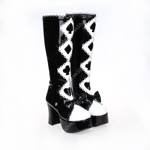 Black and White High Heel Bow and Poker PU Lolita Boots
