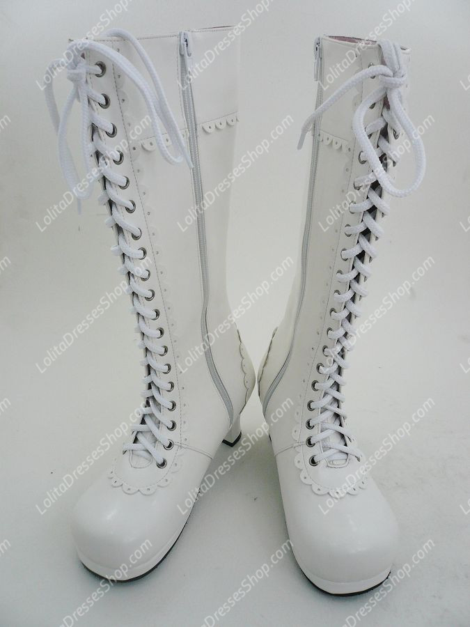 Plain White Lacing PU Lolita Boots