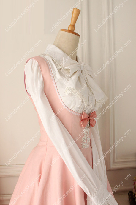 Pink Cotton Round Neck Sleeveless Breast Care Lolita Classic