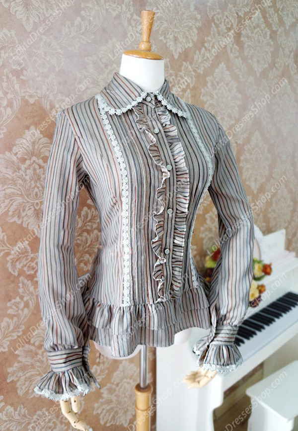 Light Coffee Cotton and Linen Lapel Long Sleeve Lace Trim Lolita