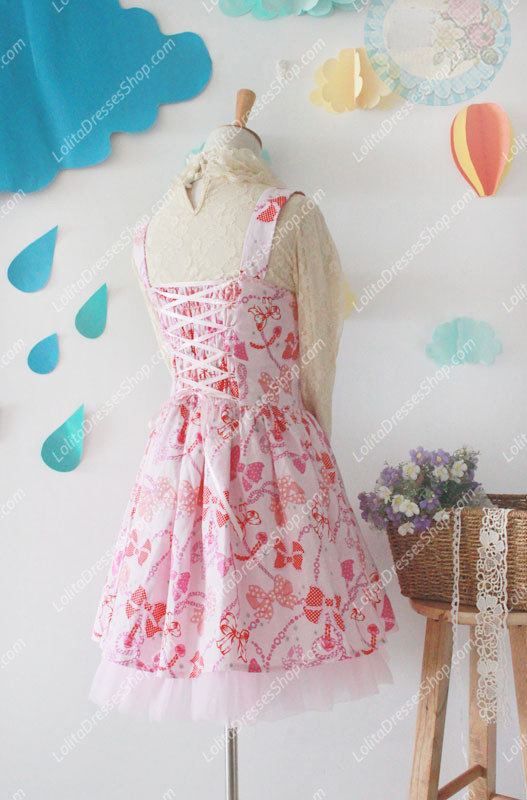 Pink Cotton Square Neck Sleeveless Bowknot Printing Sweet Lolita