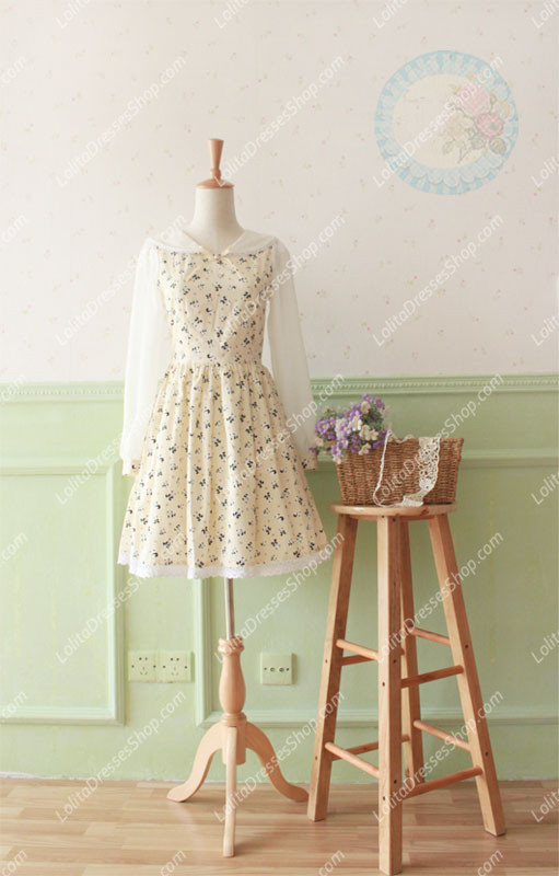 Beige Cotton Doll Collar Long Sleeve Panda Printing Sweet Lolita