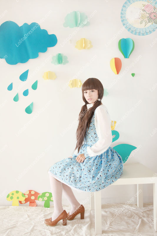 Blue Cotton Doll Collar Long Sleeve Panda Printing Sweet Lolita