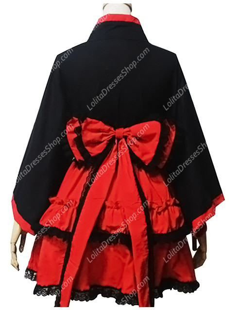 Black and Red Cotton Heart Neck Long Sleeves Kimono