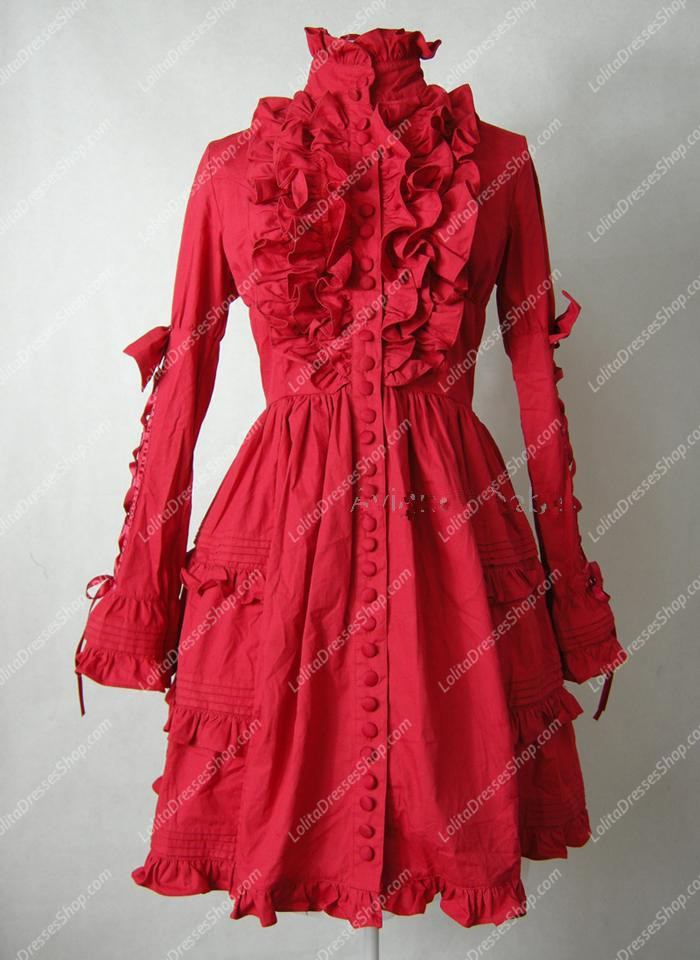 Red Cotton Stand Collar Long Sleeves Classic Lolita Dress