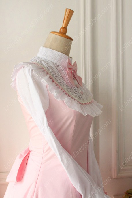 Red and White Doll Collar Long Sleeves Flouncing Classic Lolita Dress
