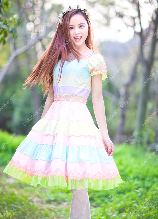 Princess Sweet Rainbow Seven Colors Multilayer Lolita Dress