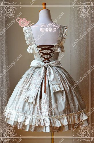 Cotten Sweet Double Color Magic Tea Party Knot JSK Lolita Dress