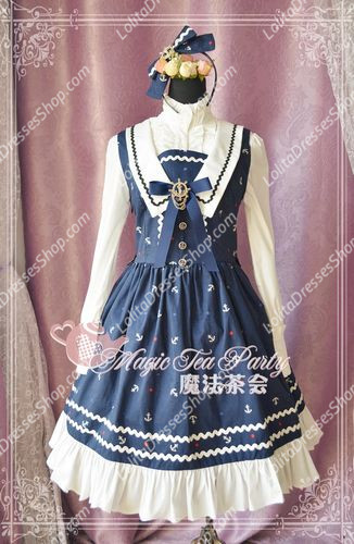 Cotten Sweet The Anchor of the sea Magic Tea Party Knot JSK Lolita Dress