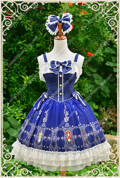 Blue Cotten Sweet Cat Tarot Knot JSK Lost Candy Lolita Dress