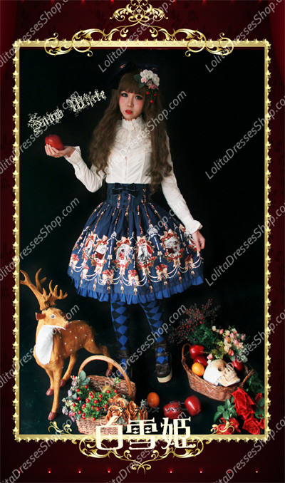 Cheap Sweet Cotten Snow White Print Knot Sk Infanta Lolita