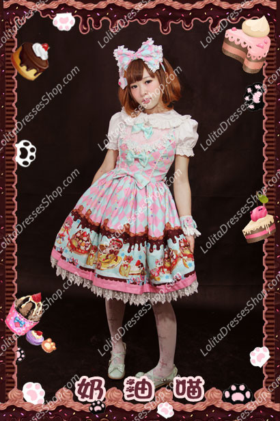 Sweet Cotten Cream Cat sweety KC Infanta Short sleeve Blouse Outfit Dress