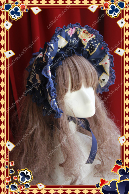 Sweet Cotten JSK Card printing Infanta Bonnet BB Lolita Hat