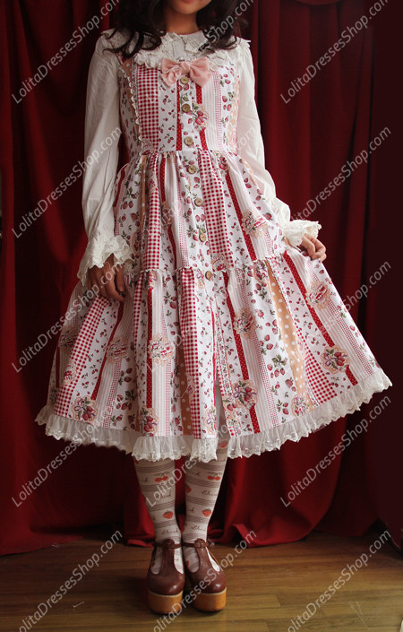Sweet Cotten The collage style garden strawberry Infanta Lolita Dress