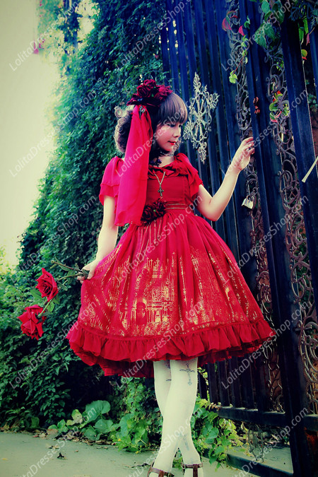 Sweet Cotten Bronzing Chiffon strawberry Infanta Lolita Dress
