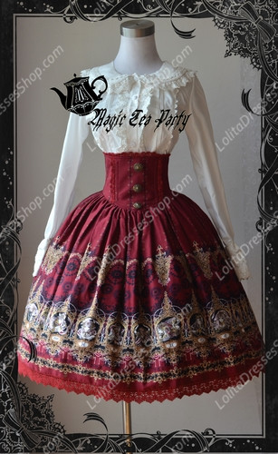 Cotten Sweet Magic Tea Party SK Knot Lolita High Waist Dress